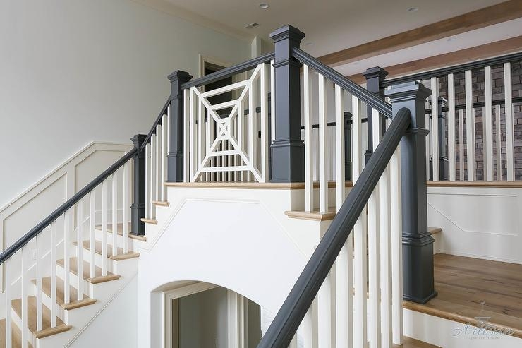 White Staircase Spindles With Stained Railing Transitional   White And Grey Banister   Newel Post   Narrow Awkward Staircase   Stair Railing   Entryway   Wall