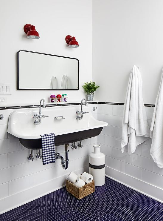 vintage penny tile bathroom floor