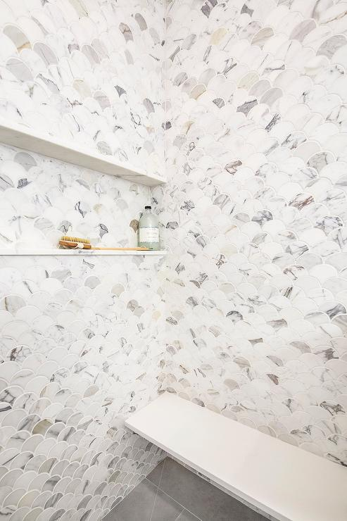 Calacatta Marble Scalloped Shower Tiles Transitional