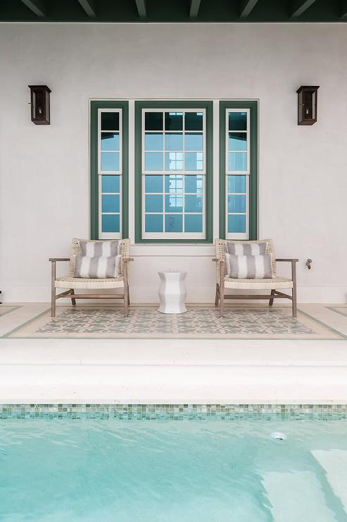 green glass mosaic pool tiles cottage