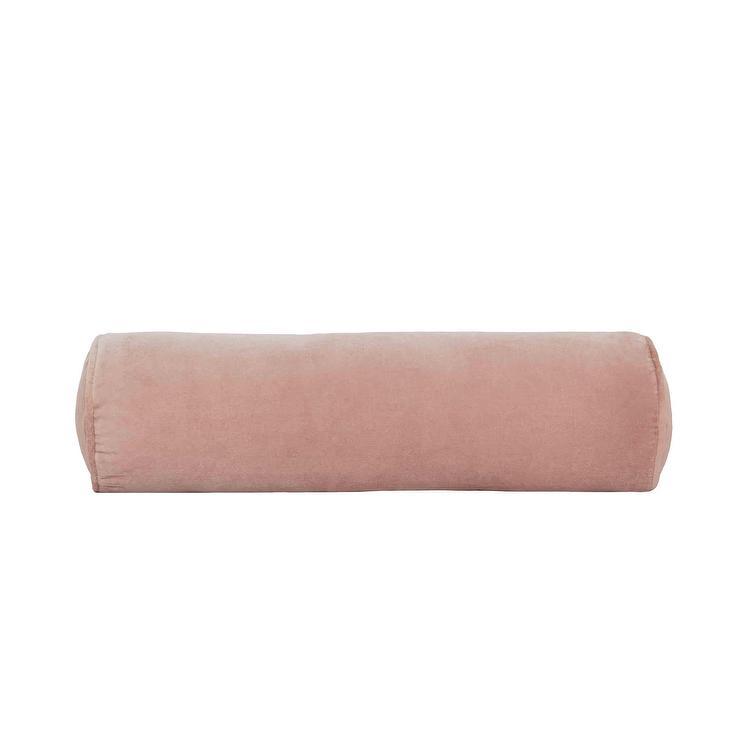 sabine pink velvet bolster pillow