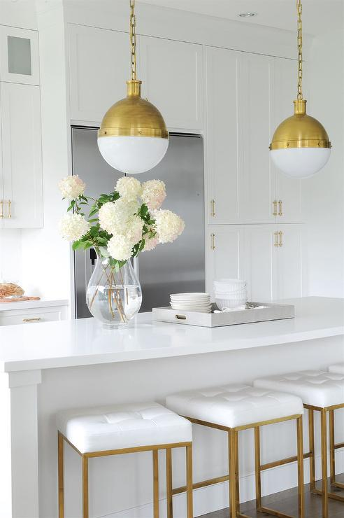 antique brass hicks pendants with white