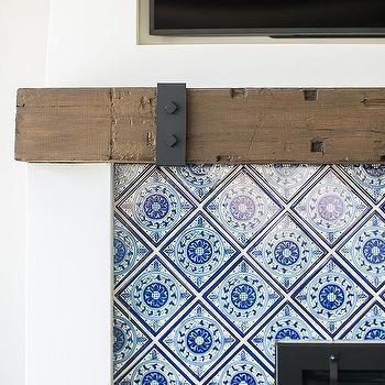 blue mosaic tiled fireplace design ideas