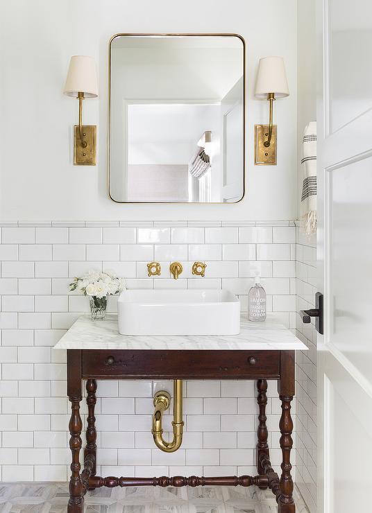 vintage spindle sink vanity with vessel