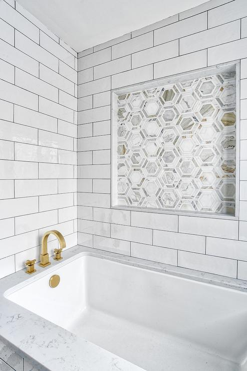 pewter grout on large white subway