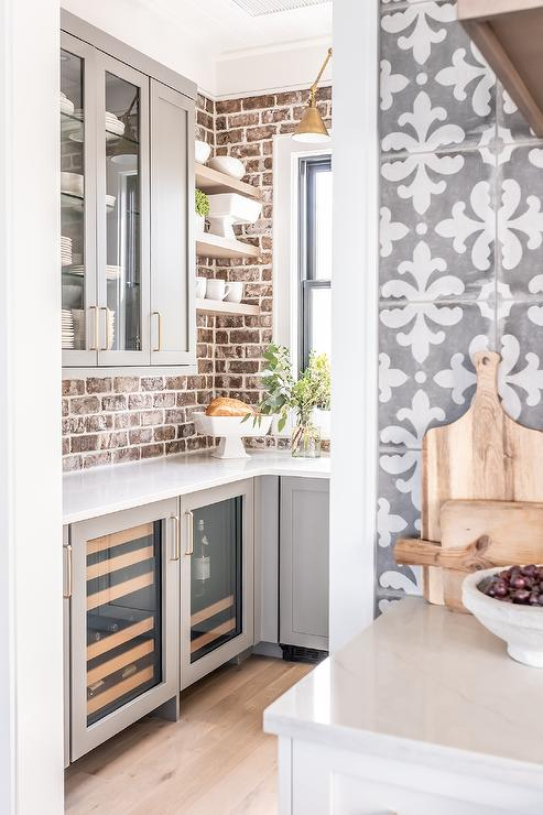 Gray Pantry Cabinets With Red Brick Backsplash Cottage Kitchen