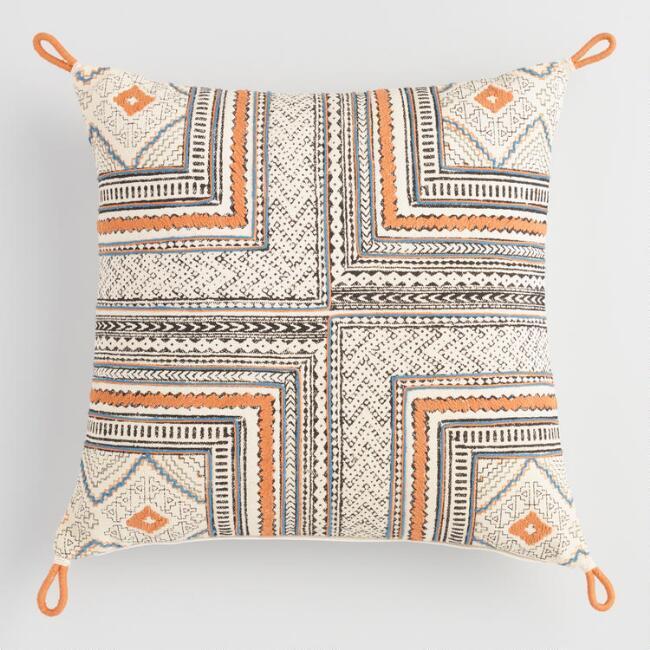 orange blue block print throw pillow