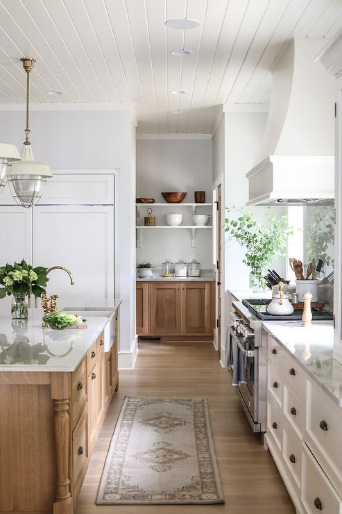 White And Brown Kitchen With Walk In Pantry Transitional Kitchen