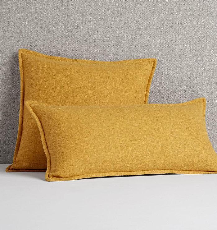italian mustard woven wool pillow cover