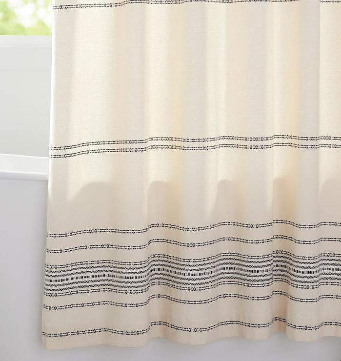 ivory black woven striped shower curtain