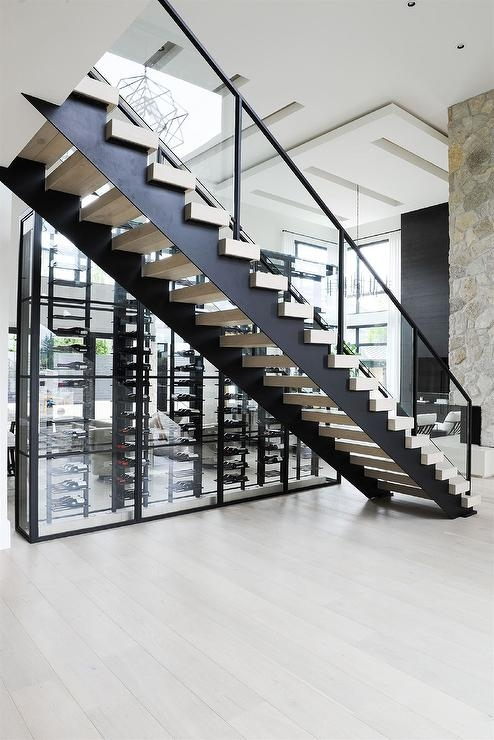 Glass Staircase Railing With Gray Wash Stair Treads Modern | Black Modern Stair Railing | Glass | Raised Ranch | Minimalist | Interior | Chris Loves
