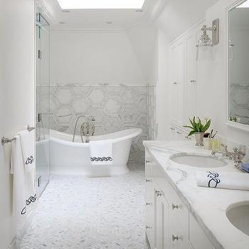 carrera marble hexagon bathroom floor