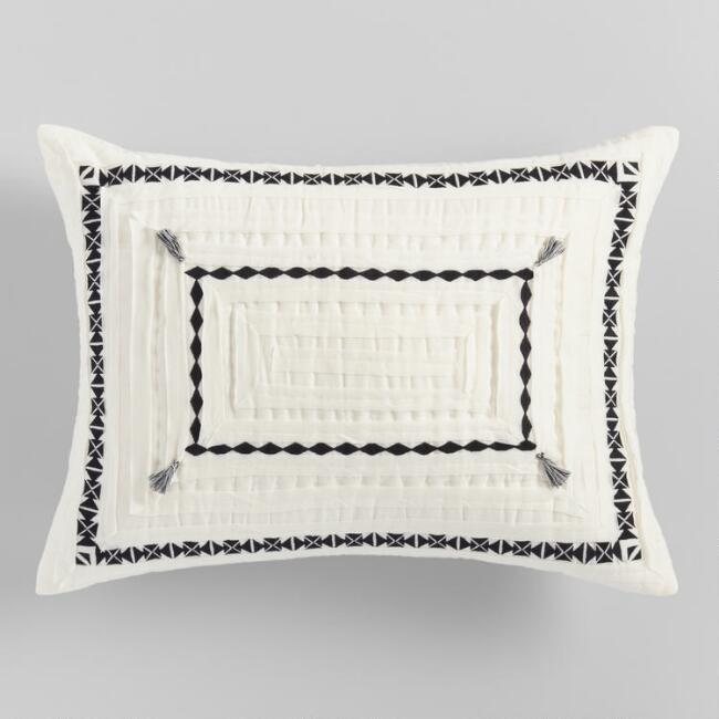 geeta ivory black geometric pillow