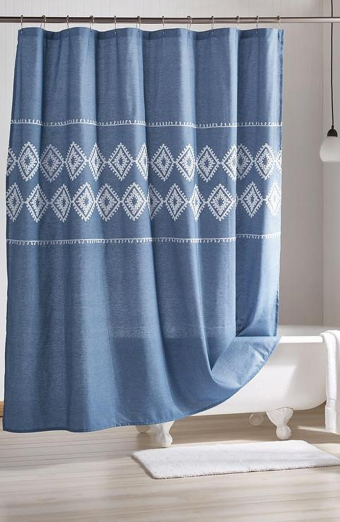 chambray geo blue embroidered shower