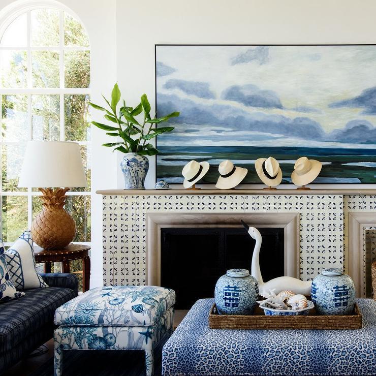 blue animal print ottoman with woven