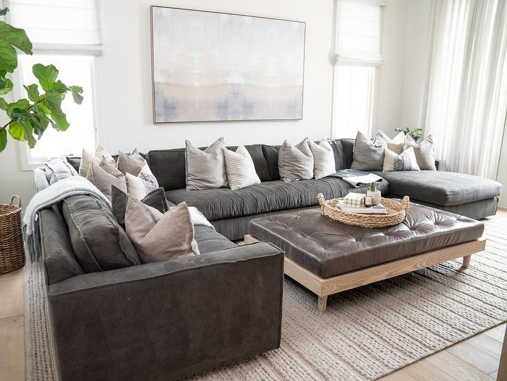 black leather sectional with brown