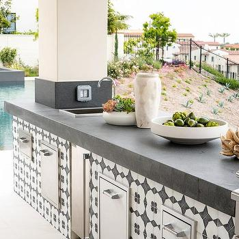 white and blue outdoor kitchen tiles