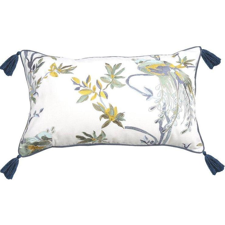 chinoiserie floral navy tassels lumbar