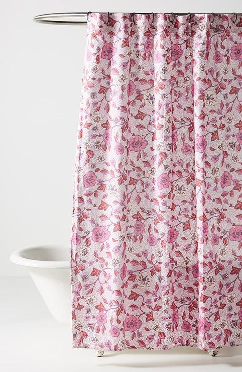 zola pink floral cotton shower curtain