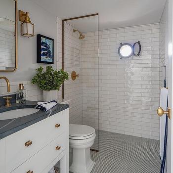 bathroom with penny tile floor design ideas