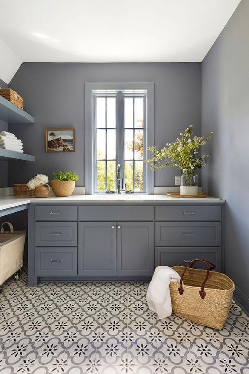 gray porcelain tile laundry room floor