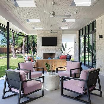 black plank covered patio ceiling