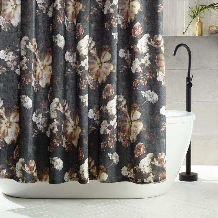 reese black floral shower curtain