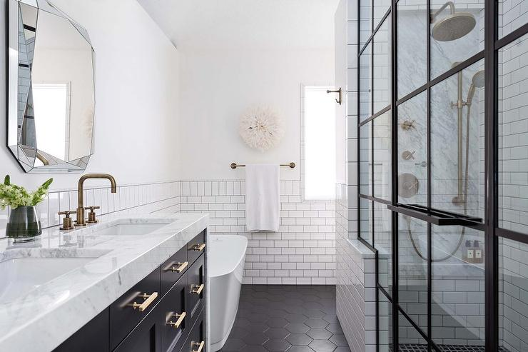 black hexagon floor tiles