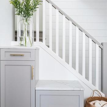 Staircase Cabinets Design Ideas   White And Grey Banister   Newel Post   Narrow Awkward Staircase   Stair Railing   Entryway   Wall