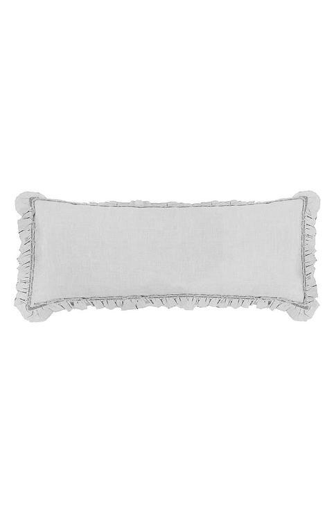 mathilde gray ruffled velvet body pillow