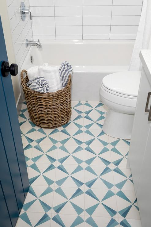 white and blue geometric wall tiles
