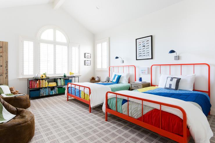 red metal full size beds with colorful