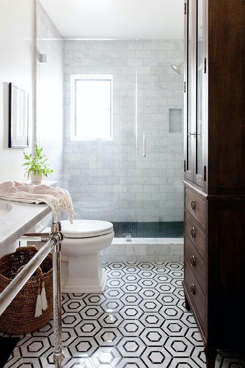 white marble hexagon bath floor tiles