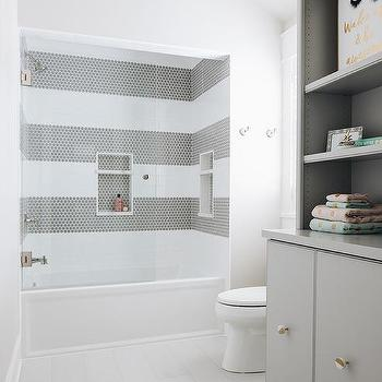 white and gray striped tiles