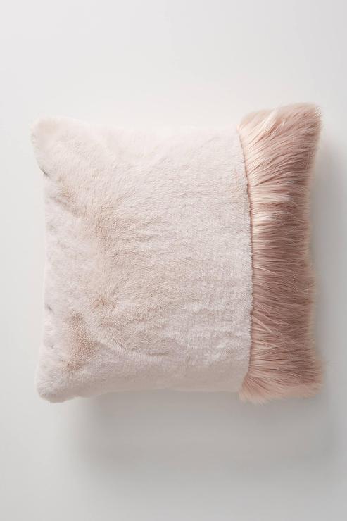 tara blush faux fur pillow