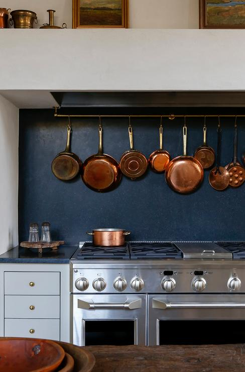 cooktop linear brass pot rack with