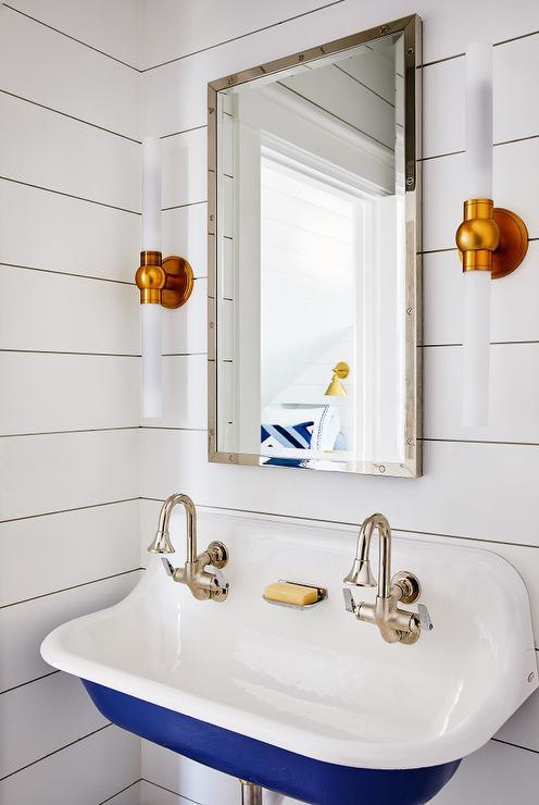 blue kohler brockway sink with satin