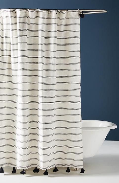 white stripes tasseled shower curtain