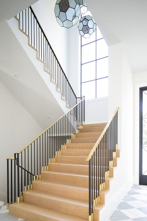 Gold And Black Staircase With Oak Treads And Risers Modern | Glass And Oak Banister | Minecraft | Traditional | Stair Case | House | Designer