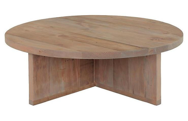 landry round natural wood coffee table