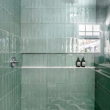 ivory green and black shower tiles