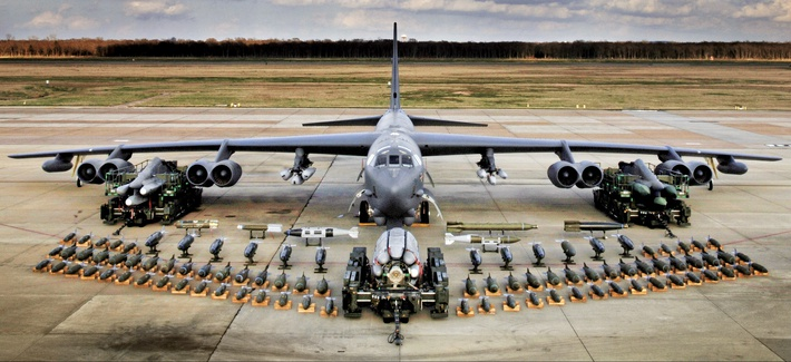 A B-52 bomber with its full array of munitions at Barksdale Air Force Base, Louisiana.
