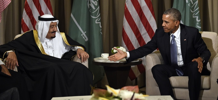 U.S President Barack Obama reaches out to shake hands with King Salman of Saudi Arabia at the G-20 Summit in Antalya, Turkey, Sunday, Nov. 15, 2015.