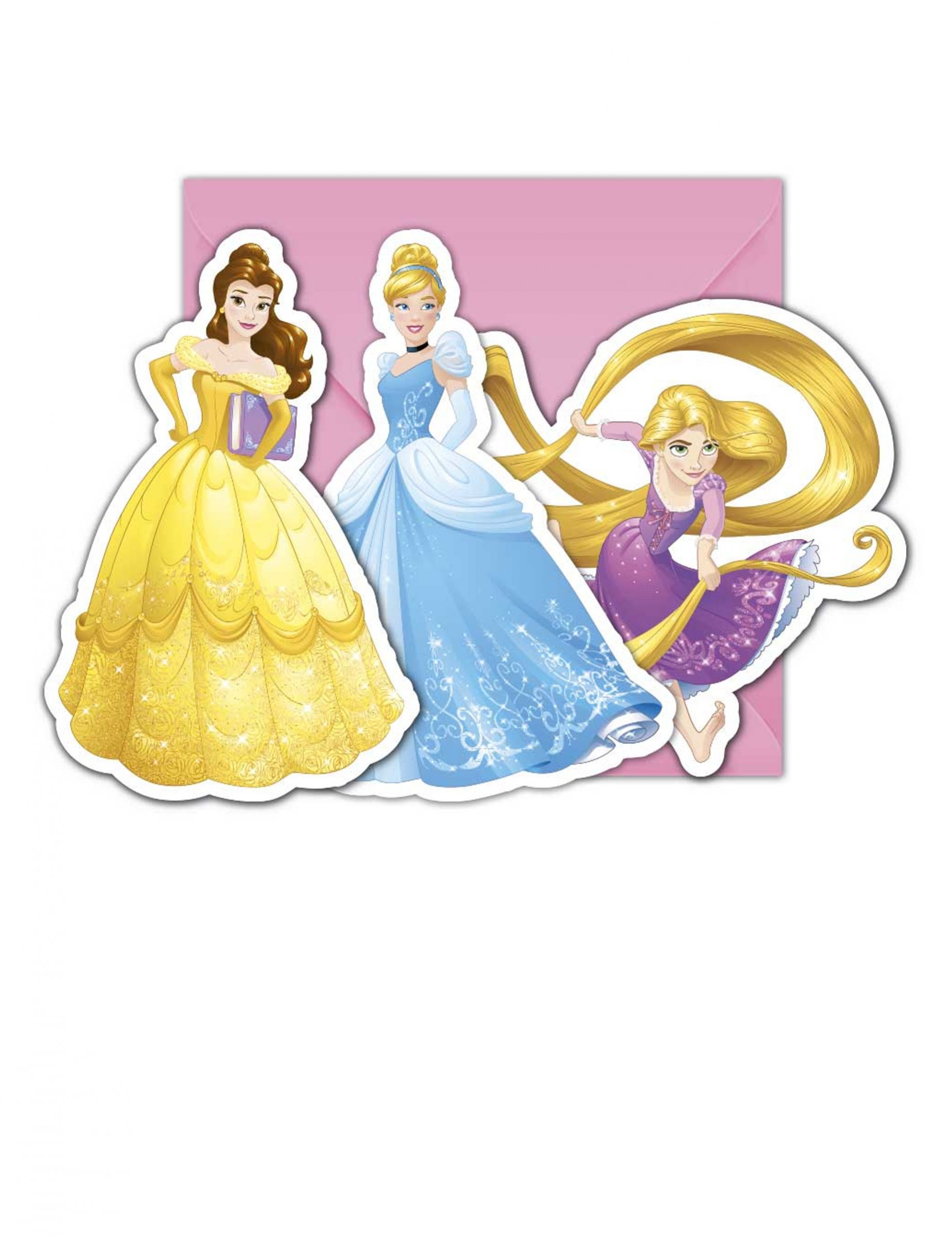 6 cartes dinvitation enveloppes princesses disney dreaming