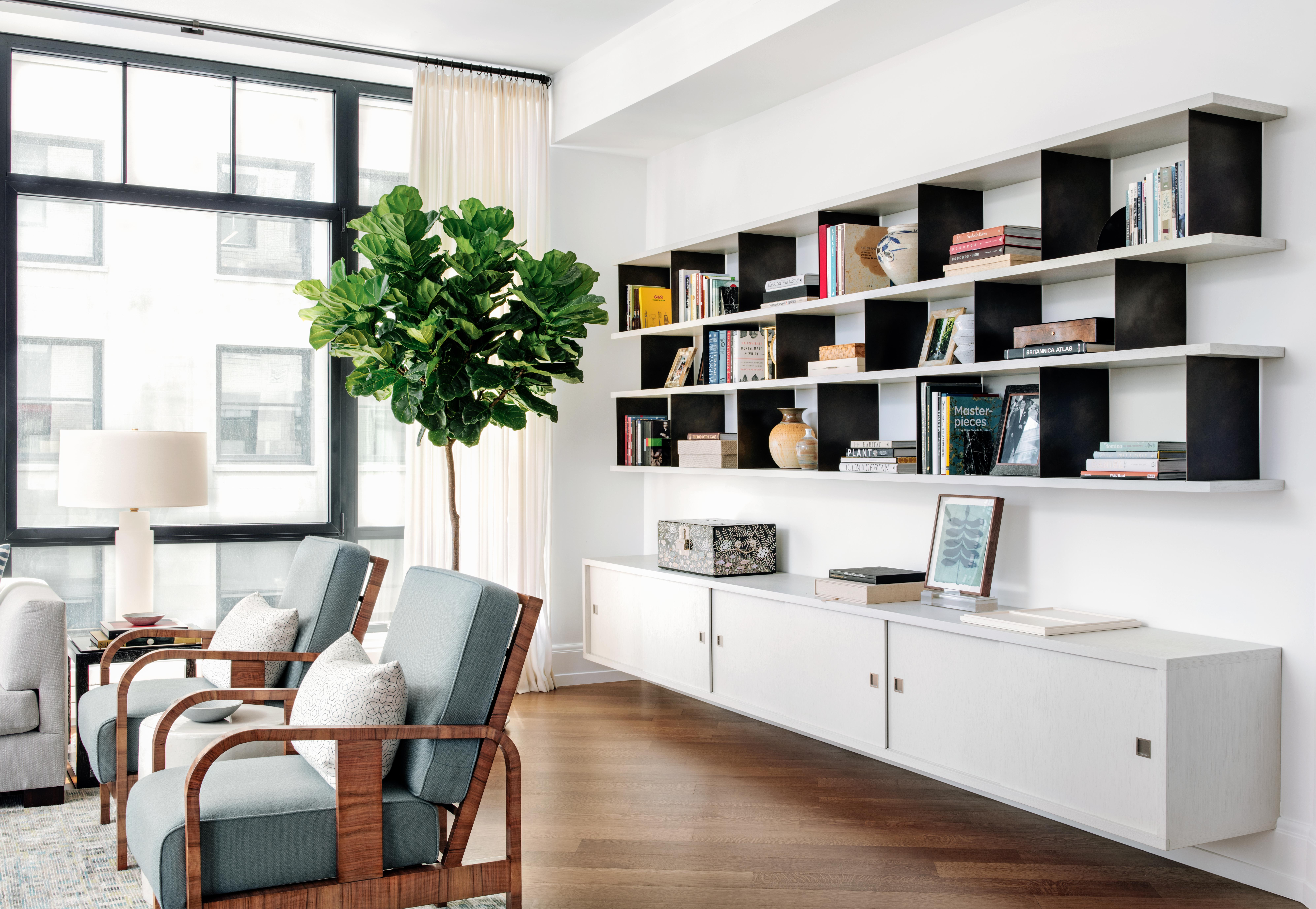 Modern Living Room Built In Bookcase With Open Shelves And
