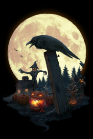 Halloween Theme Shirt. Crow, Scarecrow, Full Moon, Graveyard,