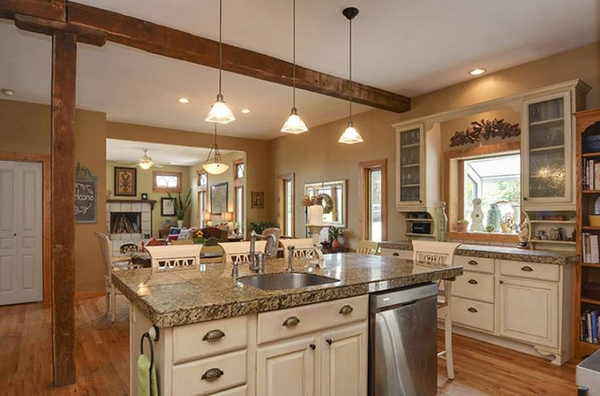 White Kitchen Cabinets Black Island
