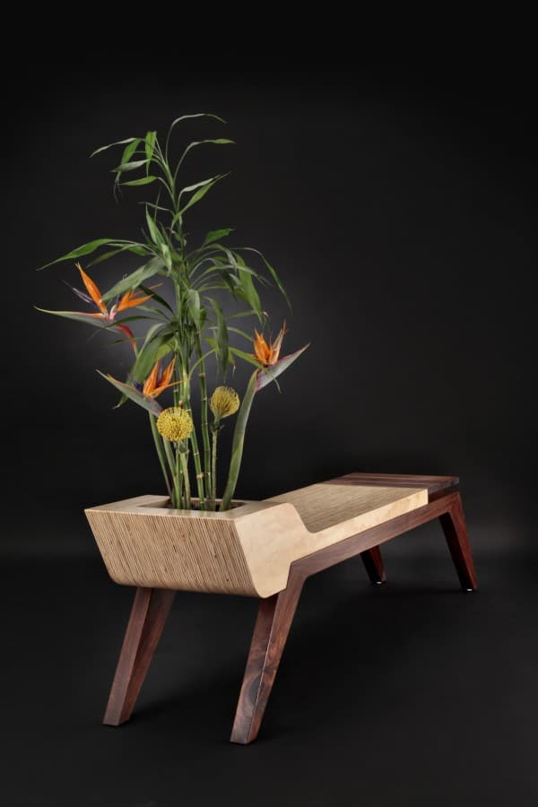 Wooden bench combined with a flower pot by Jory Brigham   DesignRulz.com