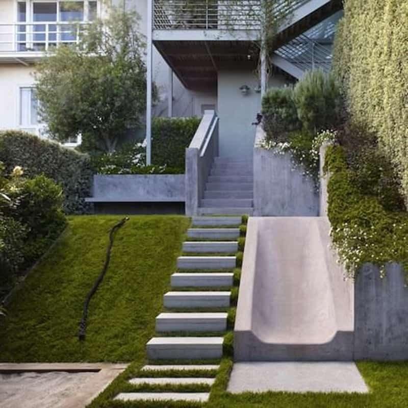 40 Ideas Of How To Design Exterior Stairways | Modern Staircase Design Outside Home | Iron Railings | Concrete | Design Ideas | Msmedia | Steel Staircase