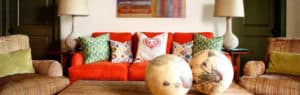 Adorable Red Sofas Creating A Modern Impression Of Living Room